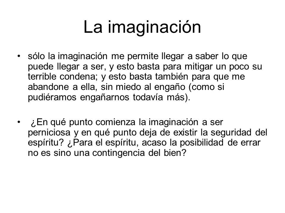 La imaginación sólo la imaginación me permite llegar a saber lo que puede llegar a ser, y esto basta para mitigar un poco su terrible condena; y esto