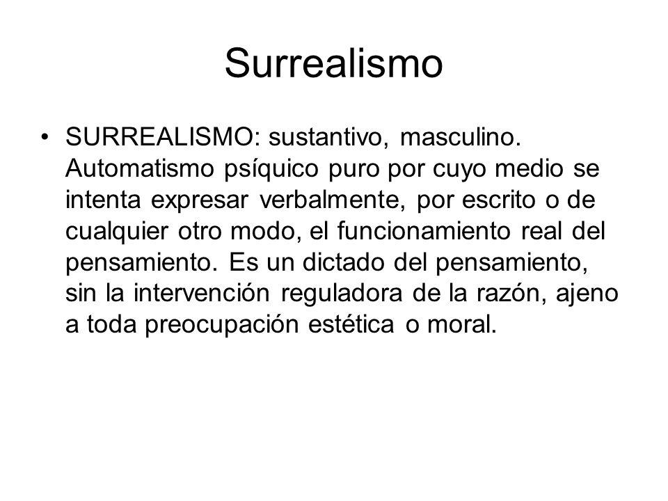 Surrealismo SURREALISMO: sustantivo, masculino. Automatismo psíquico puro por cuyo medio se intenta expresar verbalmente, por escrito o de cualquier o