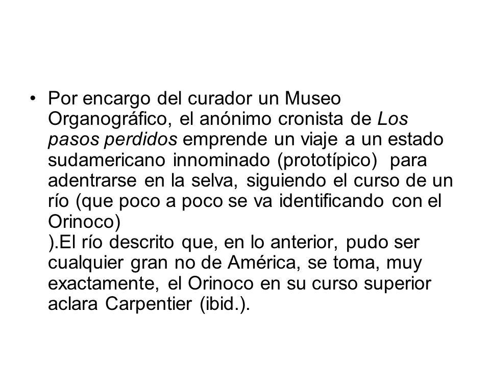Por encargo del curador un Museo Organográfico, el anónimo cronista de Los pasos perdidos emprende un viaje a un estado sudamericano innominado (proto