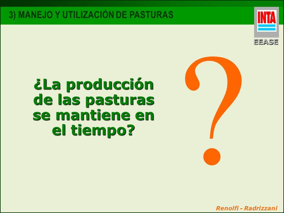 ¿La producción de las pasturas se mantiene en el tiempo? ? Renolfi - Radrizzani EEASE 3) MANEJO Y UTILIZACIÓN DE PASTURAS