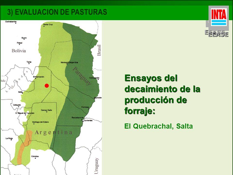 EEASE Ensayos del decaimiento de la producción de forraje: El Quebrachal, Salta 3) EVALUACION DE PASTURAS EEASE