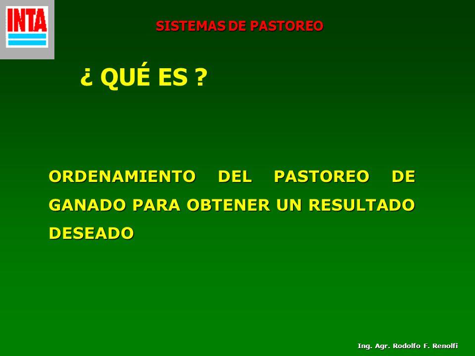 Ing. Agr. Rodolfo F. Renolfi SISTEMAS DE PASTOREO ¿ QUÉ ES ? ORDENAMIENTO DEL PASTOREO DE GANADO PARA OBTENER UN RESULTADO DESEADO