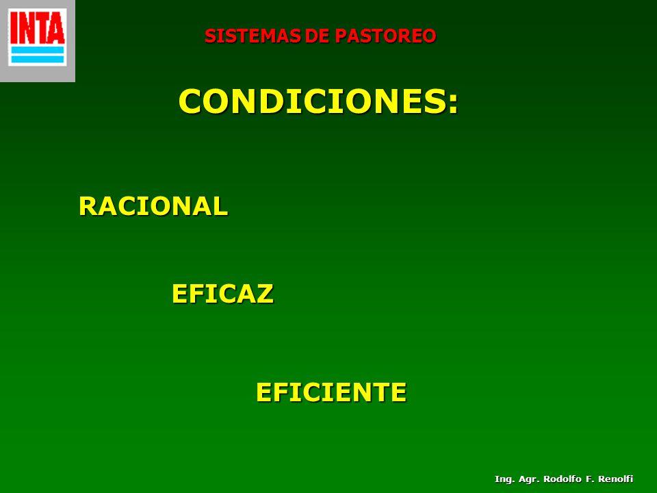 SISTEMAS DE PASTOREO CONDICIONES: RACIONAL EFICAZ EFICIENTE Ing. Agr. Rodolfo F. Renolfi