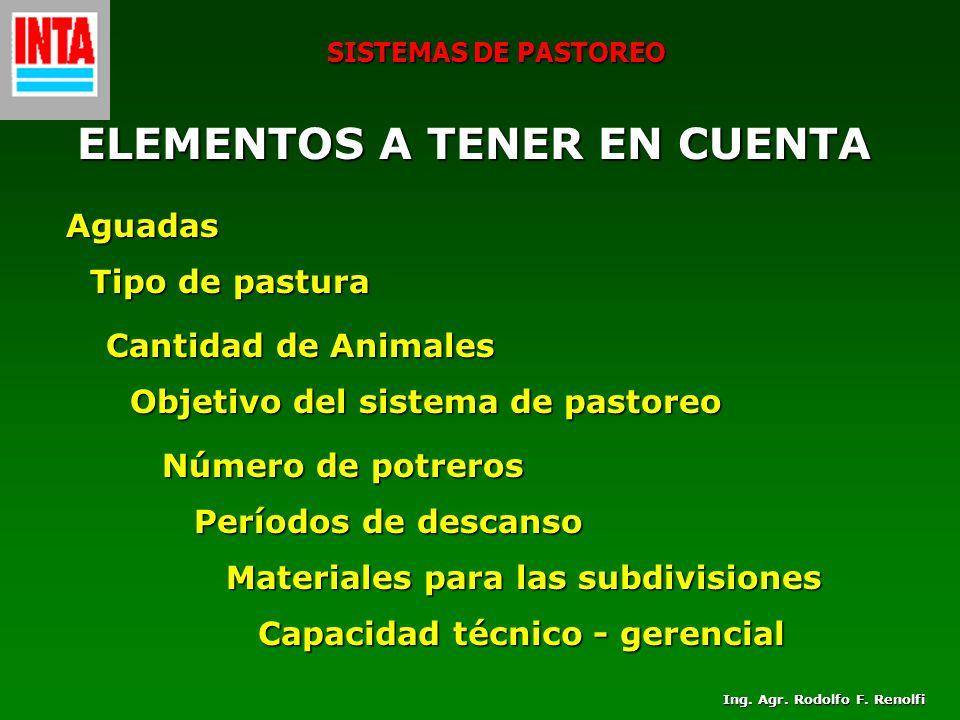 SISTEMAS DE PASTOREO ELEMENTOS A TENER EN CUENTA ELEMENTOS A TENER EN CUENTA Aguadas Tipo de pastura Cantidad de Animales Objetivo del sistema de past