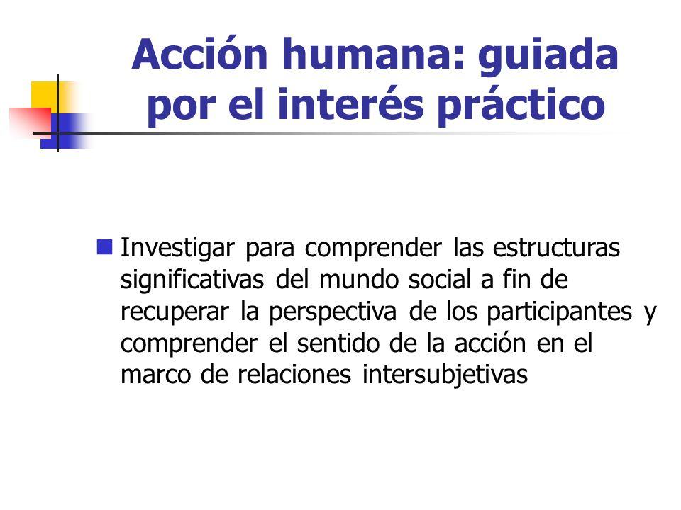 Acción humana: guiada por el interés práctico Investigar para comprender las estructuras significativas del mundo social a fin de recuperar la perspectiva de los participantes y comprender el sentido de la acción en el marco de relaciones intersubjetivas