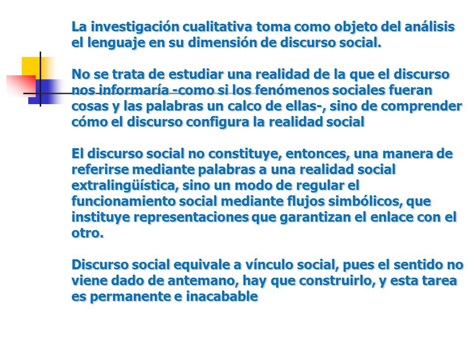 La investigación cualitativa toma como objeto del análisis el lenguaje en su dimensión de discurso social.
