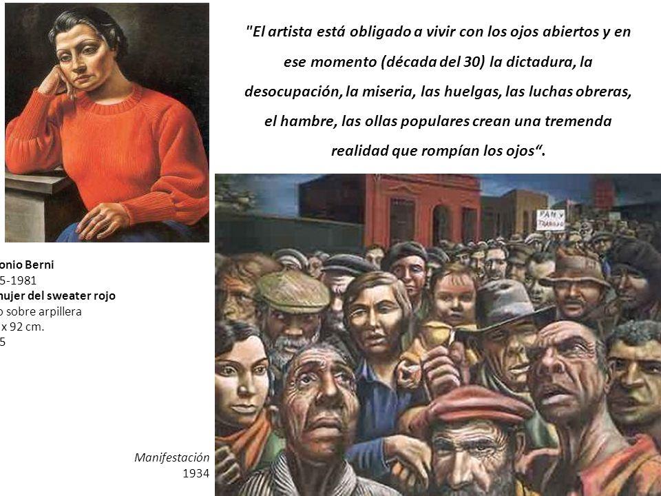1905-1981 La mujer del sweater rojo Oleo sobre arpillera 108 x 92 cm. 1935