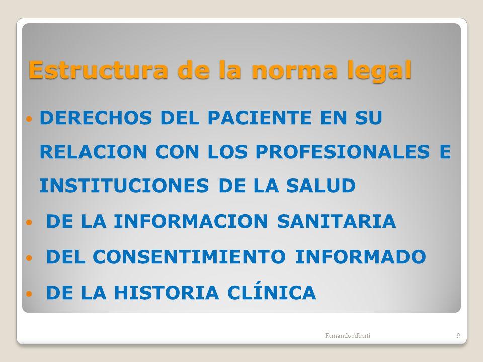 Estructura de la norma legal DERECHOS DEL PACIENTE EN SU RELACION CON LOS PROFESIONALES E INSTITUCIONES DE LA SALUD DE LA INFORMACION SANITARIA DEL CO