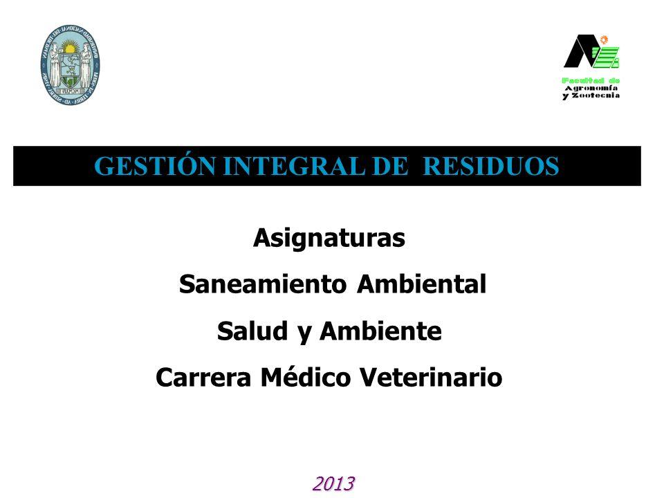 GESTIÓN INTEGRAL DE RESIDUOS 2013 Asignaturas Saneamiento Ambiental Salud y Ambiente Carrera Médico Veterinario