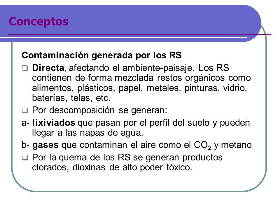 Contaminación generada por los RS Directa, afectando el ambiente-paisaje. Los RS contienen de forma mezclada restos orgánicos como alimentos, plástico