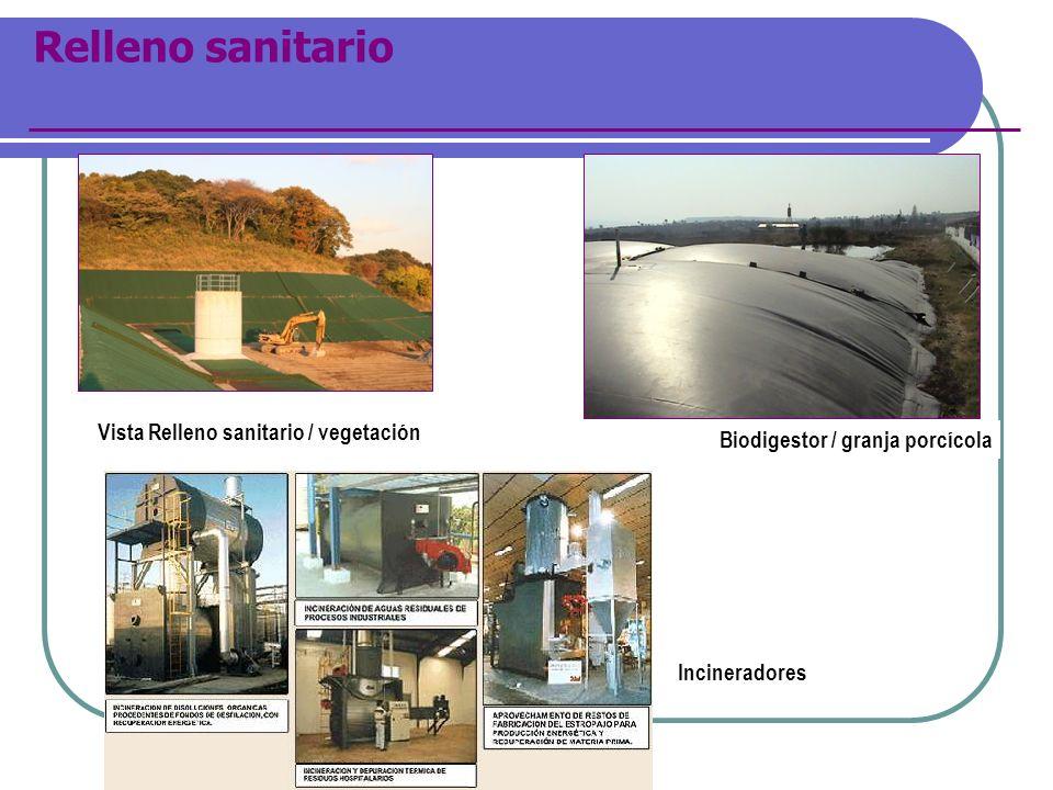 Relleno sanitario Vista Relleno sanitario / vegetación Biodigestor / granja porcícola Incineradores