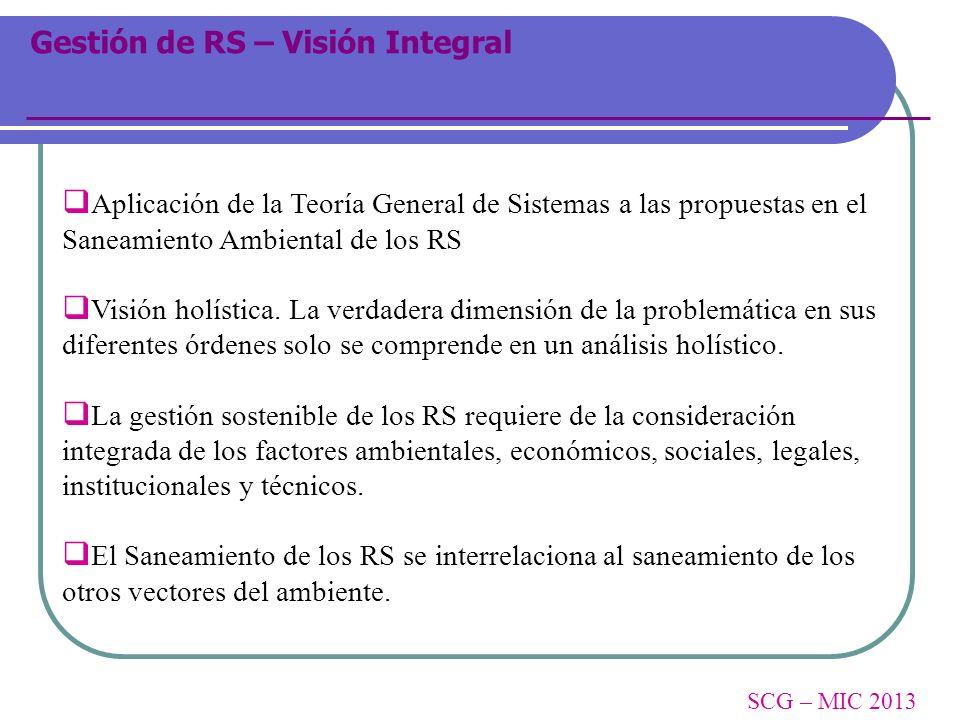 Gestión de RS – Visión Integral Aplicación de la Teoría General de Sistemas a las propuestas en el Saneamiento Ambiental de los RS Visión holística. L