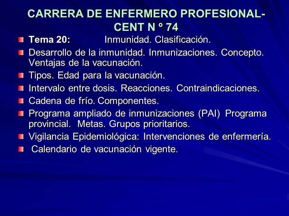 CARRERA DE ENFERMERO PROFESIONAL- CENT N º 74 Tema 20: Inmunidad. Clasificación. Desarrollo de la inmunidad. Inmunizaciones. Concepto. Ventajas de la