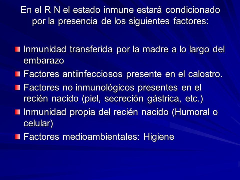 En el R N el estado inmune estará condicionado por la presencia de los siguientes factores: Inmunidad transferida por la madre a lo largo del embarazo