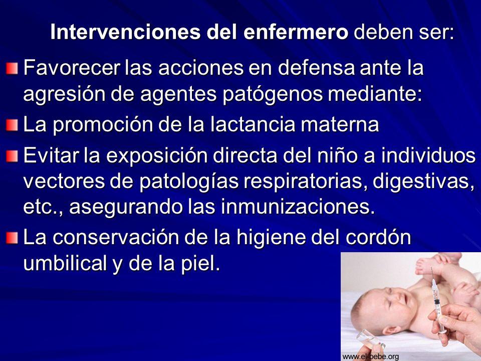 Intervenciones del enfermero deben ser: Favorecer las acciones en defensa ante la agresión de agentes patógenos mediante: La promoción de la lactancia
