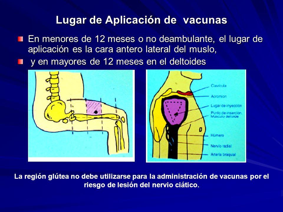 Lugar de Aplicación de vacunas En menores de 12 meses o no deambulante, el lugar de aplicación es la cara antero lateral del muslo, y en mayores de 12