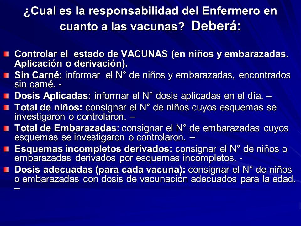 ¿Cual es la responsabilidad del Enfermero en cuanto a las vacunas? Deberá: Controlar el estado de VACUNAS (en niños y embarazadas. Aplicación o deriva