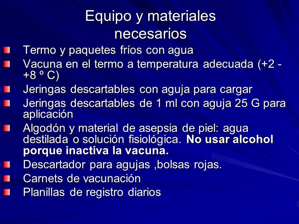 Equipo y materiales necesarios Termo y paquetes fríos con agua Vacuna en el termo a temperatura adecuada (+2 - +8 º C) Jeringas descartables con aguja