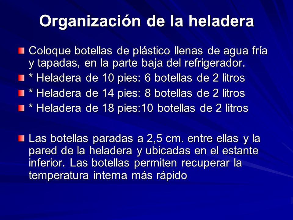Organización de la heladera Coloque botellas de plástico llenas de agua fría y tapadas, en la parte baja del refrigerador. * Heladera de 10 pies: 6 bo