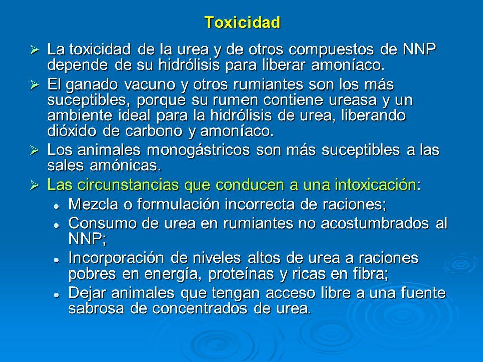 Toxicidad La toxicidad de la urea y de otros compuestos de NNP depende de su hidrólisis para liberar amoníaco. La toxicidad de la urea y de otros comp