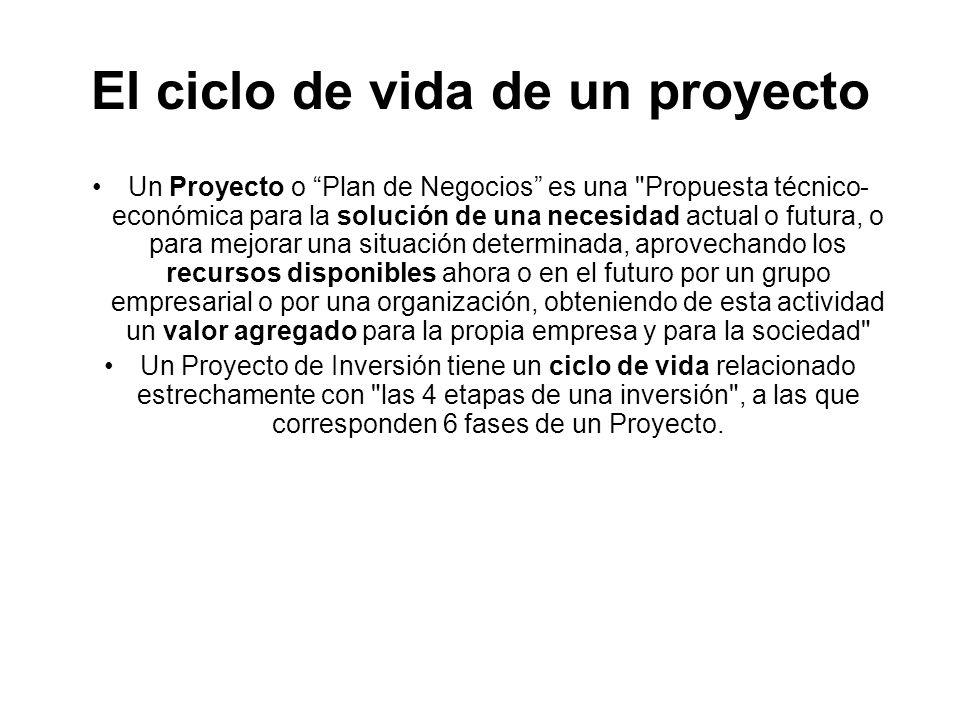 El ciclo de vida de un proyecto Un Proyecto o Plan de Negocios es una