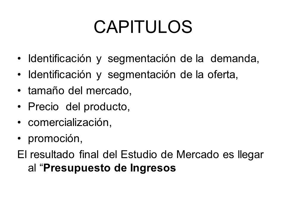 CAPITULOS Identificación y segmentación de la demanda, Identificación y segmentación de la oferta, tamaño del mercado, Precio del producto, comerciali