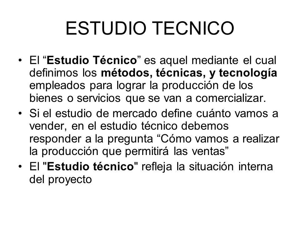 ESTUDIO TECNICO El Estudio Técnico es aquel mediante el cual definimos los métodos, técnicas, y tecnología empleados para lograr la producción de los