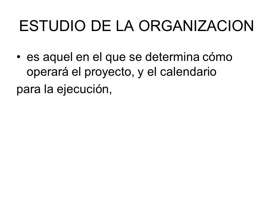 ESTUDIO DE LA ORGANIZACION es aquel en el que se determina cómo operará el proyecto, y el calendario para la ejecución,