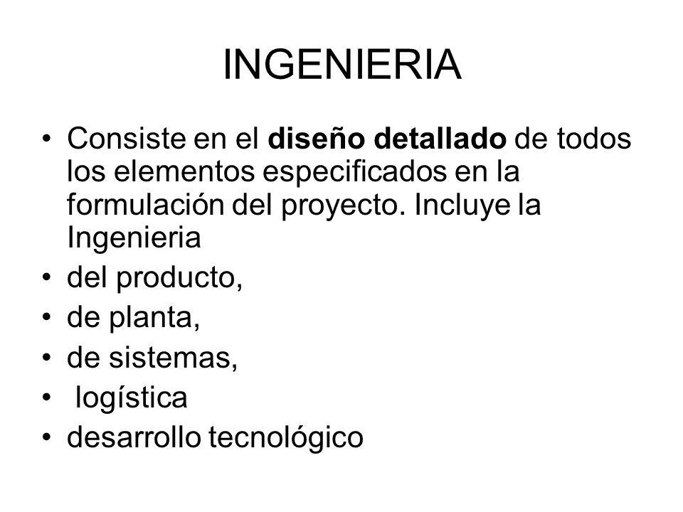 INGENIERIA Consiste en el diseño detallado de todos los elementos especificados en la formulación del proyecto. Incluye la Ingenieria del producto, de