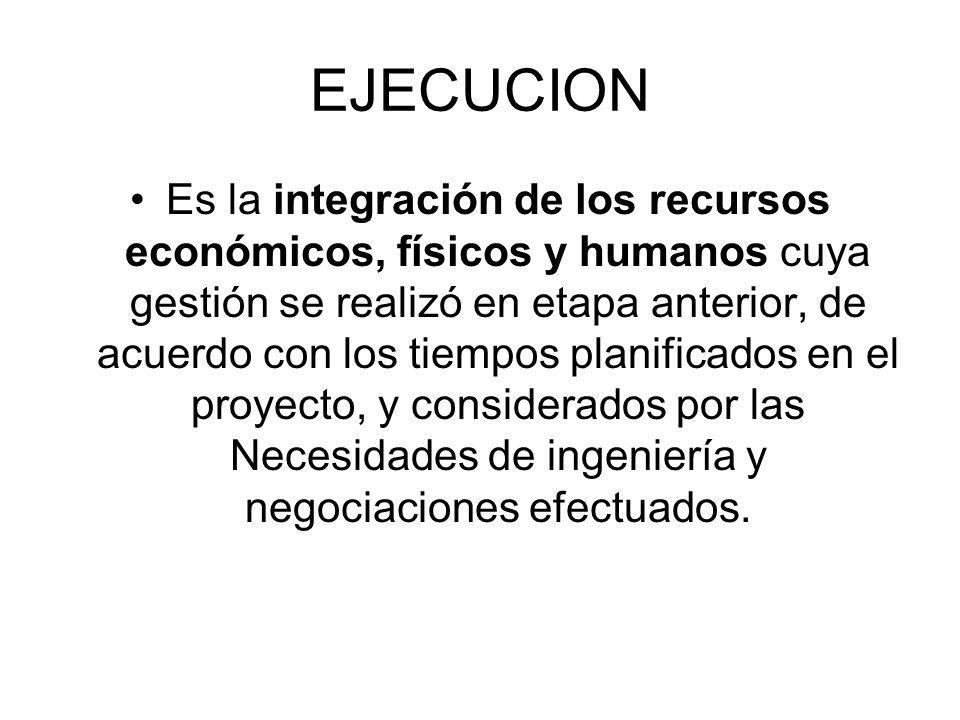 EJECUCION Es la integración de los recursos económicos, físicos y humanos cuya gestión se realizó en etapa anterior, de acuerdo con los tiempos planif