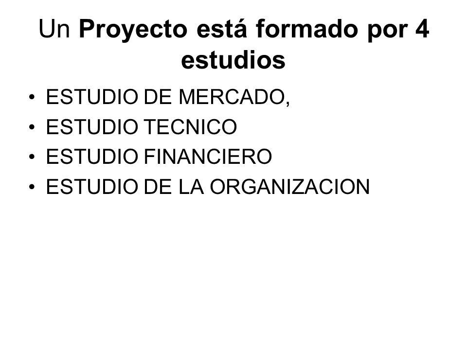 Un Proyecto está formado por 4 estudios ESTUDIO DE MERCADO, ESTUDIO TECNICO ESTUDIO FINANCIERO ESTUDIO DE LA ORGANIZACION