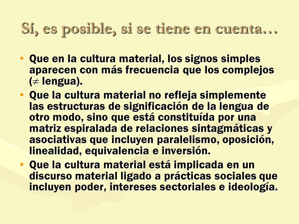 Sí, es posible, si se tiene en cuenta… Que en la cultura material, los signos simples aparecen con más frecuencia que los complejos ( lengua).Que en l