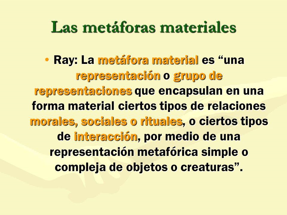 Las metáforas materiales Ray: La metáfora material es una representación o grupo de representaciones que encapsulan en una forma material ciertos tipo