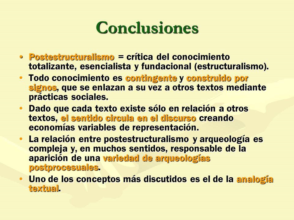 Conclusiones Postestructuralismo = crítica del conocimiento totalizante, esencialista y fundacional (estructuralismo).Postestructuralismo = crítica de