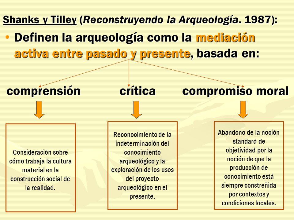 Shanks y Tilley (Reconstruyendo la Arqueología. 1987): Definen la arqueología como la mediación activa entre pasado y presente, basada en:Definen la a
