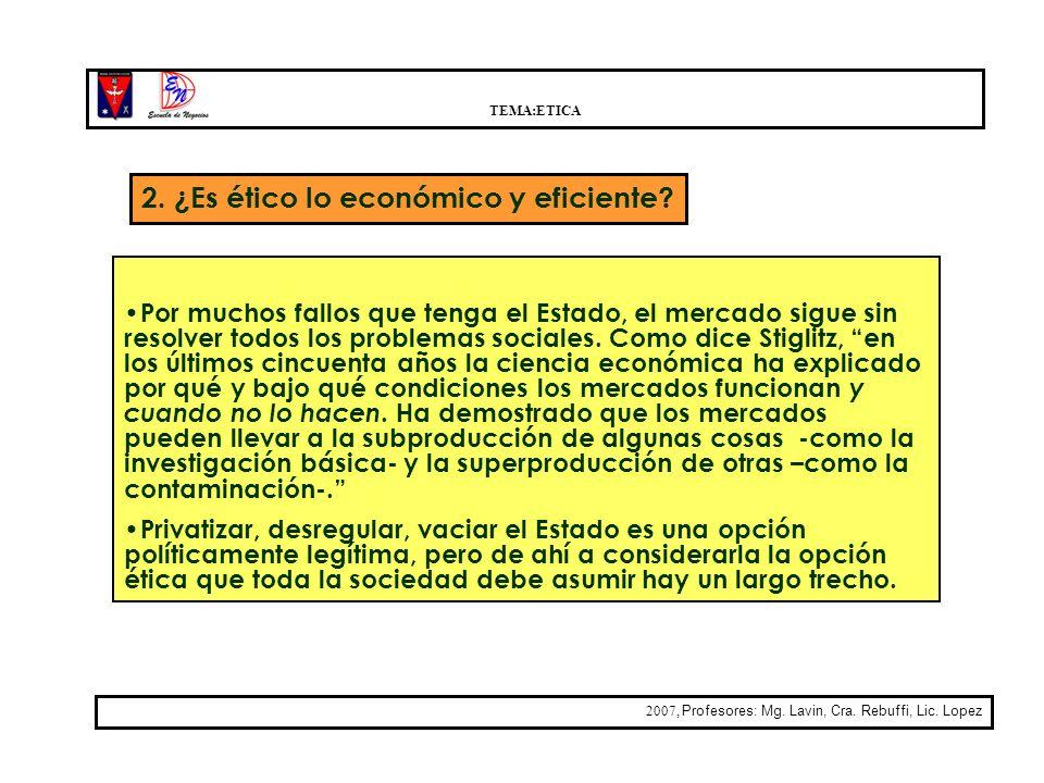 TEMA:ETICA 2007, Profesores: Mg. Lavin, Cra. Rebuffi, Lic. Lopez 2. ¿Es ético lo económico y eficiente? Por muchos fallos que tenga el Estado, el merc