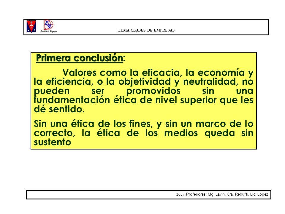 TEMA:CLASES DE EMPRESAS 2007, Profesores: Mg. Lavin, Cra. Rebuffi, Lic. Lopez Primera conclusión Primera conclusión: Valores como la eficacia, la econ
