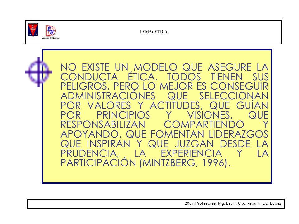 TEMA: ETICA 2007, Profesores: Mg. Lavin, Cra. Rebuffi, Lic. Lopez NO EXISTE UN MODELO QUE ASEGURE LA CONDUCTA ÉTICA. TODOS TIENEN SUS PELIGROS, PERO L