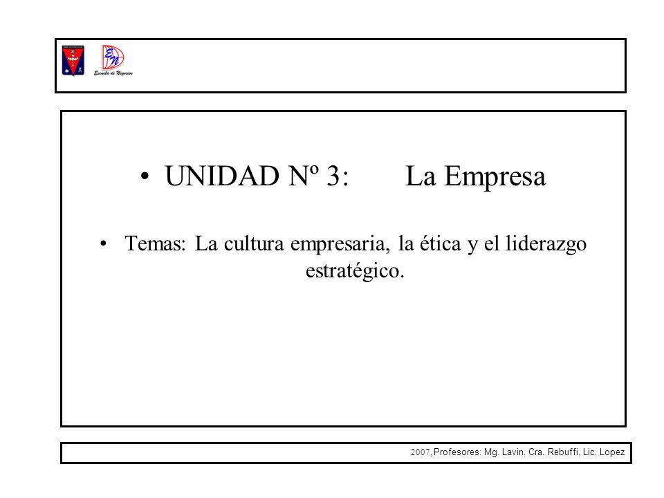 UNIDAD Nº 3: La Empresa Temas: La cultura empresaria, la ética y el liderazgo estratégico. 2007, Profesores: Mg. Lavin, Cra. Rebuffi, Lic. Lopez