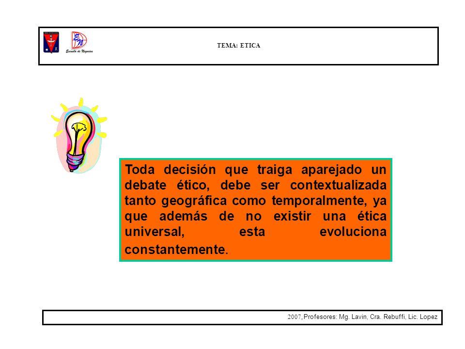 TEMA: ETICA 2007, Profesores: Mg. Lavin, Cra. Rebuffi, Lic. Lopez Toda decisión que traiga aparejado un debate ético, debe ser contextualizada tanto g