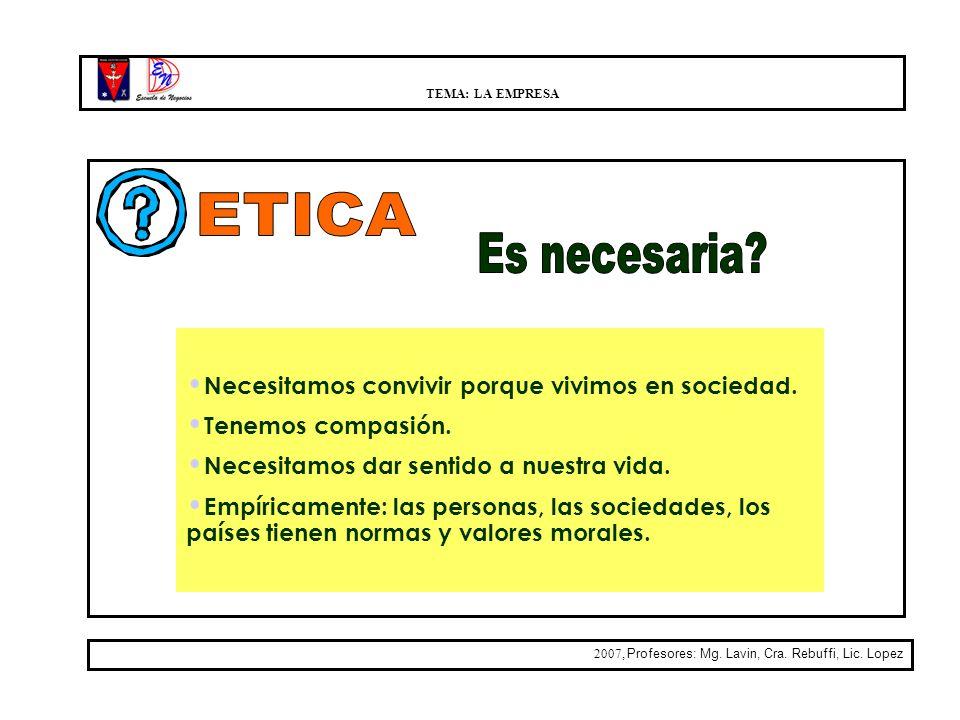 TEMA: LA EMPRESA 2007, Profesores: Mg. Lavin, Cra. Rebuffi, Lic. Lopez Necesitamos convivir porque vivimos en sociedad. Tenemos compasión. Necesitamos
