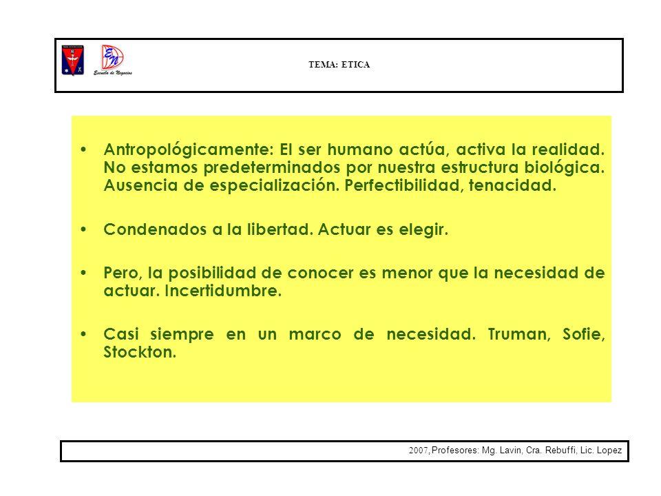TEMA: ETICA 2007, Profesores: Mg. Lavin, Cra. Rebuffi, Lic. Lopez Antropológicamente: El ser humano actúa, activa la realidad. No estamos predetermina