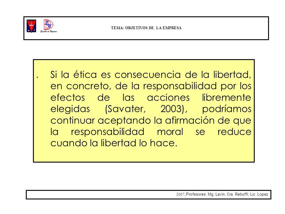 TEMA: OBJETIVOS DE LA EMPRESA 2007, Profesores: Mg. Lavin, Cra. Rebuffi, Lic. Lopez. Si la ética es consecuencia de la libertad, en concreto, de la re