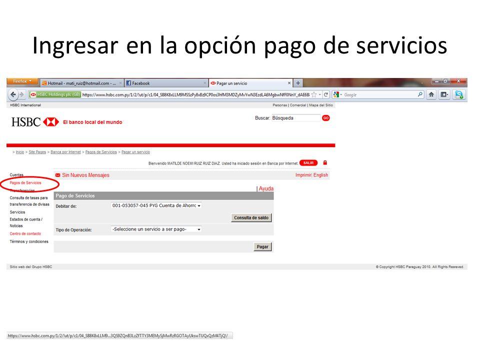Ingresar en la opción pago de servicios