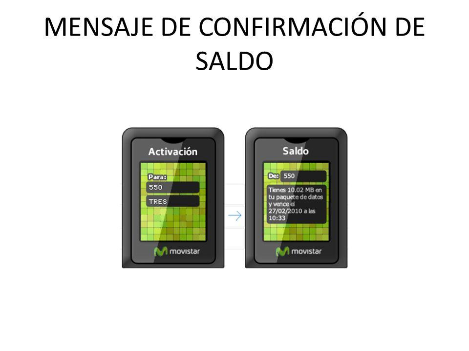 MENSAJE DE CONFIRMACIÓN DE SALDO