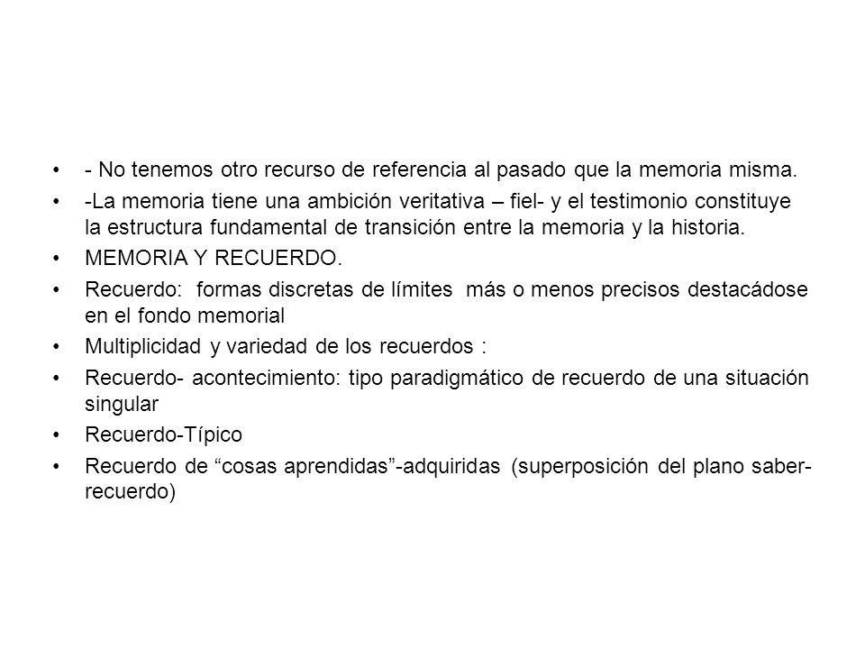 Memoria habito- memoria recuerdo (Bergson) Evocación/ búsqueda o rememoración Reflexividad/mundaneidad- Interioridad/exterioridad Reconocimiento/Rememoración Memoria corporal Memoria de los lugares / Lugares de memoria