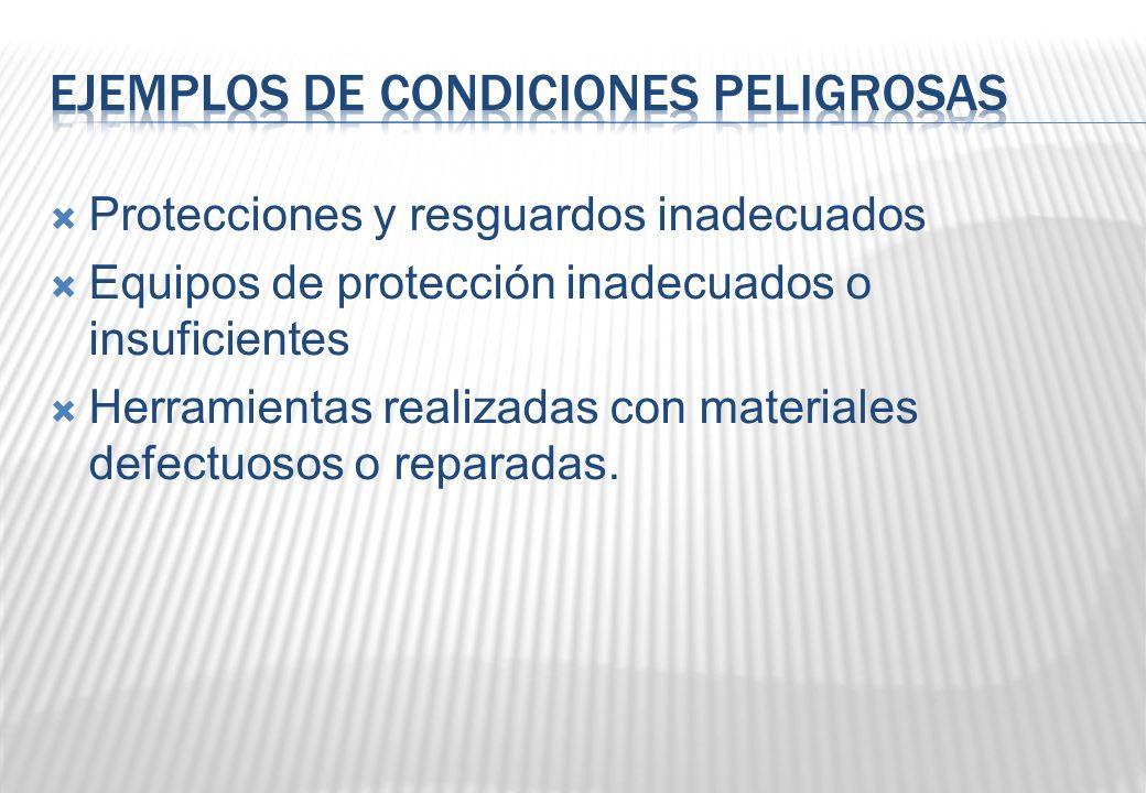 Protecciones y resguardos inadecuados Equipos de protección inadecuados o insuficientes Herramientas realizadas con materiales defectuosos o reparadas