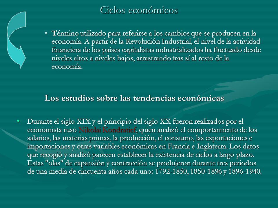 Ciclos económicos Término utilizado para referirse a los cambios que se producen en la economía. A partir de la Revolución Industrial, el nivel de la