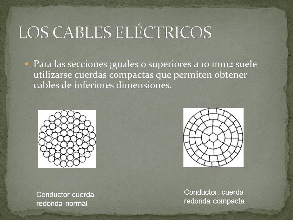 Para las secciones ¡guales o superiores a 10 mm2 suele utilizarse cuerdas compactas que permiten obtener cables de inferiores dimensiones. Conductor c