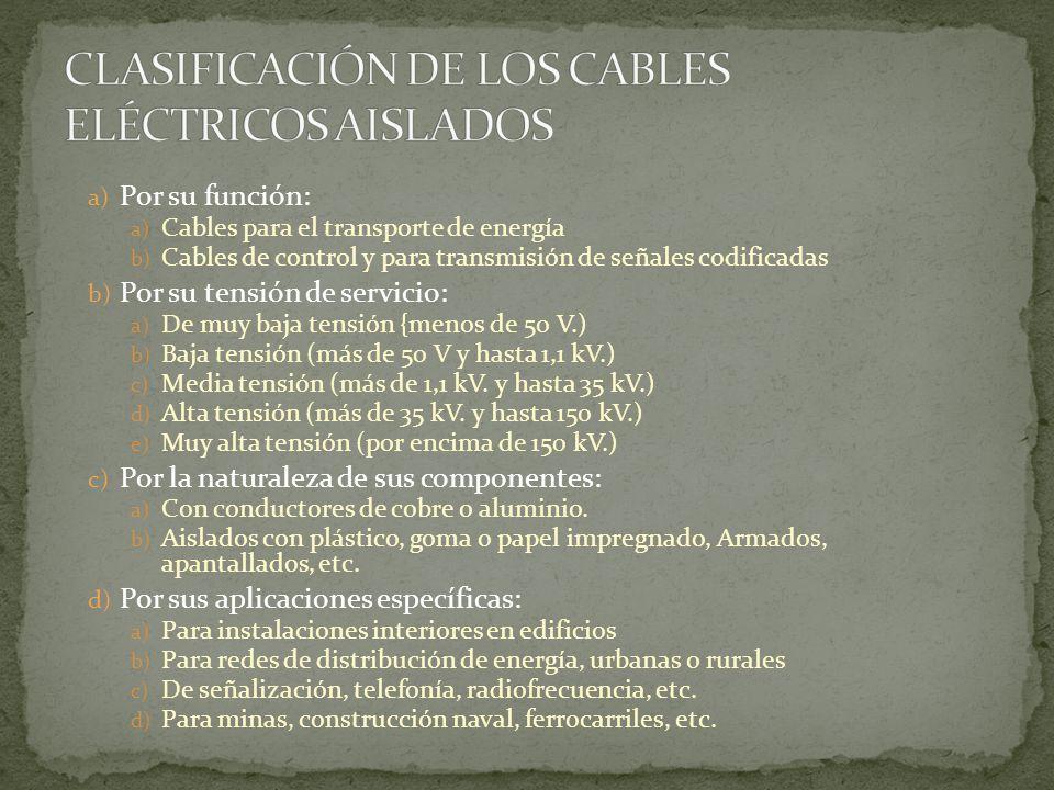 a) Por su función: a) Cables para el transporte de energía b) Cables de control y para transmisión de señales codificadas b) Por su tensión de servici